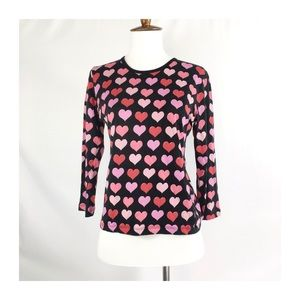 [true vintage] silk allover hearts blouse